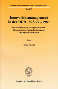 Cover Innovationsmanagement in der DDR 1973/79-1989