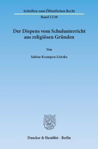 Cover Der Dispens vom Schulunterricht aus religiösen Gründen