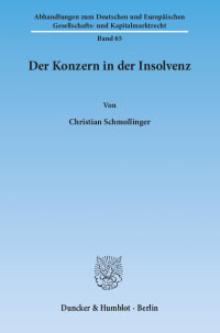 Cover Der Konzern in der Insolvenz