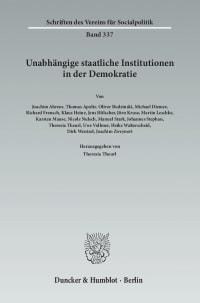 Cover Unabhängige staatliche Institutionen in der Demokratie