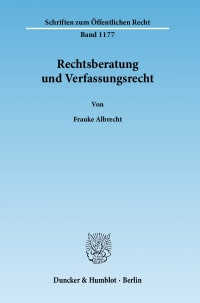 Cover Rechtsberatung und Verfassungsrecht