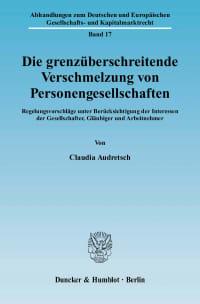 Cover Die grenzüberschreitende Verschmelzung von Personengesellschaften