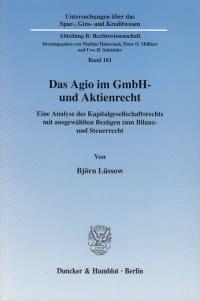 Cover Das Agio im GmbH- und Aktienrecht