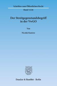 Cover Der Streitgegenstandsbegriff in der VwGO