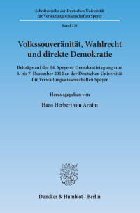 Cover Volkssouveränität, Wahlrecht und direkte Demokratie