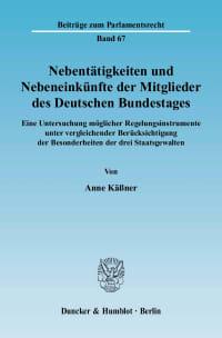 Cover Nebentätigkeiten und Nebeneinkünfte der Mitglieder des Deutschen Bundestages