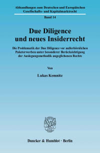 Cover Due Diligence und neues Insiderrecht