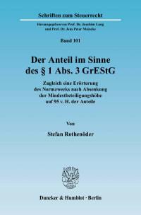 Cover Der Anteil im Sinne des § 1 Abs. 3 GrEStG
