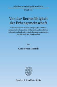 Cover Von der Rechtsfähigkeit der Erbengemeinschaft