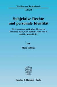 Cover Subjektive Rechte und personale Identität