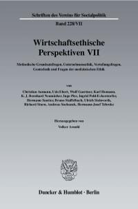 Cover Wirtschaftsethische Perspektiven VII