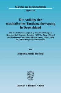 Cover Die Anfänge der musikalischen Tantiemenbewegung in Deutschland