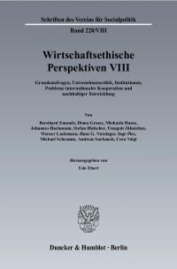 Cover Wirtschaftsethische Perspektiven VIII