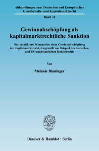 Cover Gewinnabschöpfung als kapitalmarktrechtliche Sanktion