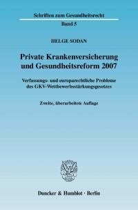 Cover Private Krankenversicherung und Gesundheitsreform 2007