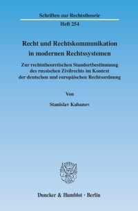 Cover Recht und Rechtskommunikation in modernen Rechtssystemen