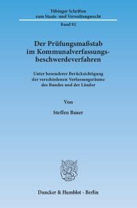 Cover Der Prüfungsmaßstab im Kommunalverfassungsbeschwerdeverfahren