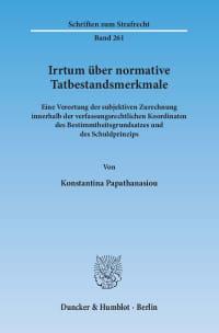 Cover Irrtum über normative Tatbestandsmerkmale