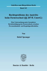 Cover Rechtsprobleme des Austritts beim Formwechsel (§§ 207 ff. UmwG)
