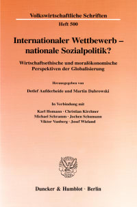 Cover Internationaler Wettbewerb - nationale Sozialpolitik?