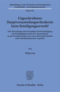 Cover Ungeschriebenes Hauptversammlungserfordernis beim Beteiligungserwerb?