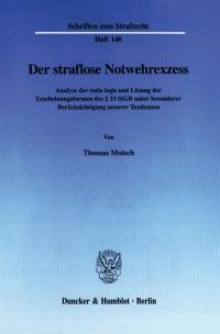 Cover Der straflose Notwehrexzess