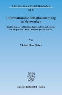 Cover Informationelle Selbstbestimmung in Netzwerken