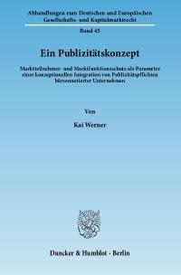 Cover Ein Publizitätskonzept