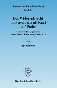 Cover Das Widerrufsrecht im Fernabsatz als Kauf auf Probe