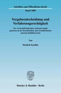 Cover Vergabeentscheidung und Verfahrensgerechtigkeit