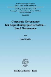 Cover Corporate Governance bei Kapitalanlagegesellschaften - Fund Governance