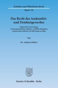 Cover Das Recht des Auskunftei- und Detekteigewerbes