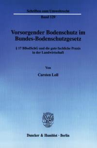 Cover Vorsorgender Bodenschutz im Bundes-Bodenschutzgesetz