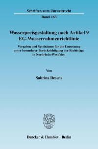 Cover Wasserpreisgestaltung nach Artikel 9 EG-Wasserrahmenrichtlinie