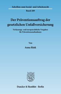 Cover Der Präventionsauftrag der gesetzlichen Unfallversicherung