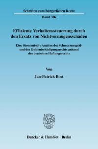 Cover Effiziente Verhaltenssteuerung durch den Ersatz von Nichtvermögensschäden