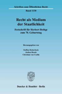 Cover Recht als Medium der Staatlichkeit