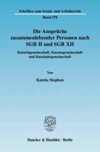 Cover Die Ansprüche zusammenlebender Personen nach SGB II und SGB XII