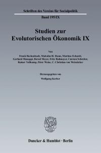 Cover Studien zur Evolutorischen Ökonomik IX