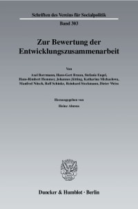Cover Zur Bewertung der Entwicklungszusammenarbeit