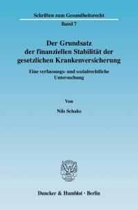 Cover Der Grundsatz der finanziellen Stabilität der gesetzlichen Krankenversicherung