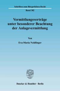 Cover Vermittlungsverträge unter besonderer Beachtung der Anlagevermittlung