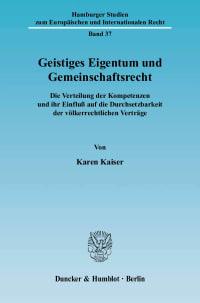 Cover Geistiges Eigentum und Gemeinschaftsrecht