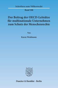 Cover Der Beitrag der OECD-Leitsätze für multinationale Unternehmen zum Schutz der Menschenrechte