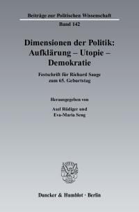 Cover Dimensionen der Politik: Aufklärung – Utopie – Demokratie