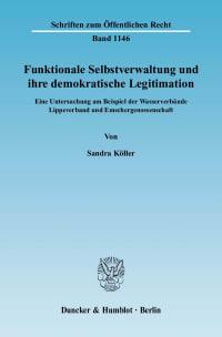 Cover Funktionale Selbstverwaltung und ihre demokratische Legitimation
