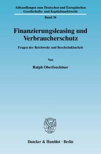 Cover Finanzierungsleasing und Verbraucherschutz