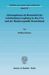 Cover Aktienoptionen als Bestandteil der Arbeitnehmervergütung in den USA und der Bundesrepublik Deutschland