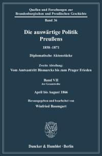 Cover Die auswärtige Politik Preußens 1858–1871