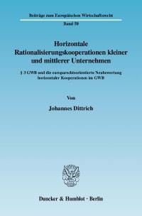 Cover Horizontale Rationalisierungskooperationen kleiner und mittlerer Unternehmen